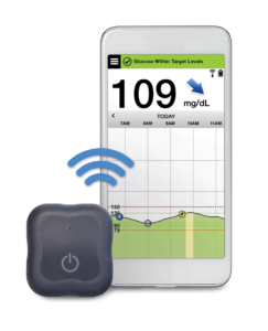 Senseonics transmitter and phone